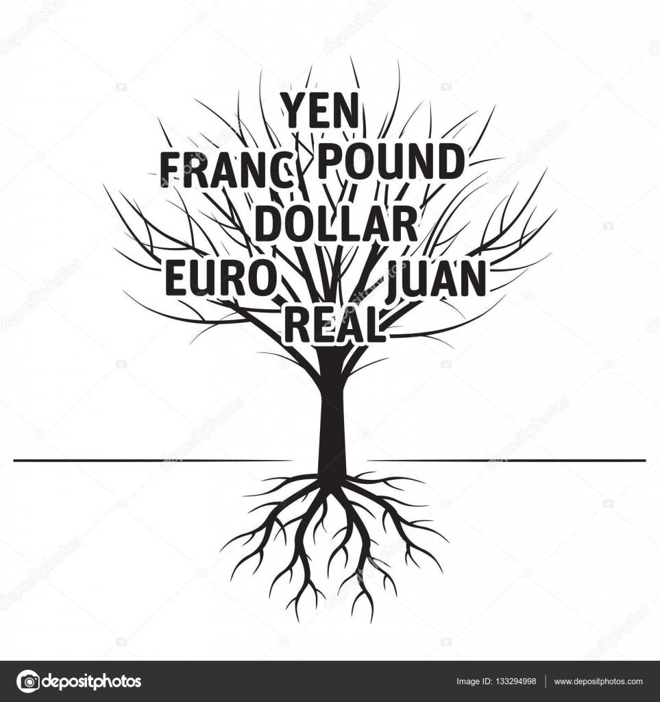 Árbol, las raíces y moneda. Ilustración de Vector negro. Parque y la ...