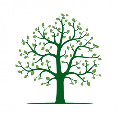 Tree with Green Leafs.Vector Illustration.