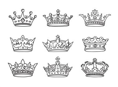 Set of stylized images of the crowns. Vector icons