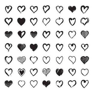 Set of Hand drawn Hearts. Design elements for Valentines day.