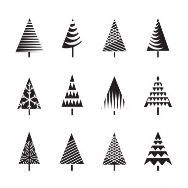 Set of Black Christmas Trees. Vector Illustration and Icons.