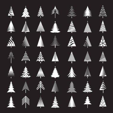 Set of White Christmas Trees. Vector Illustrations.