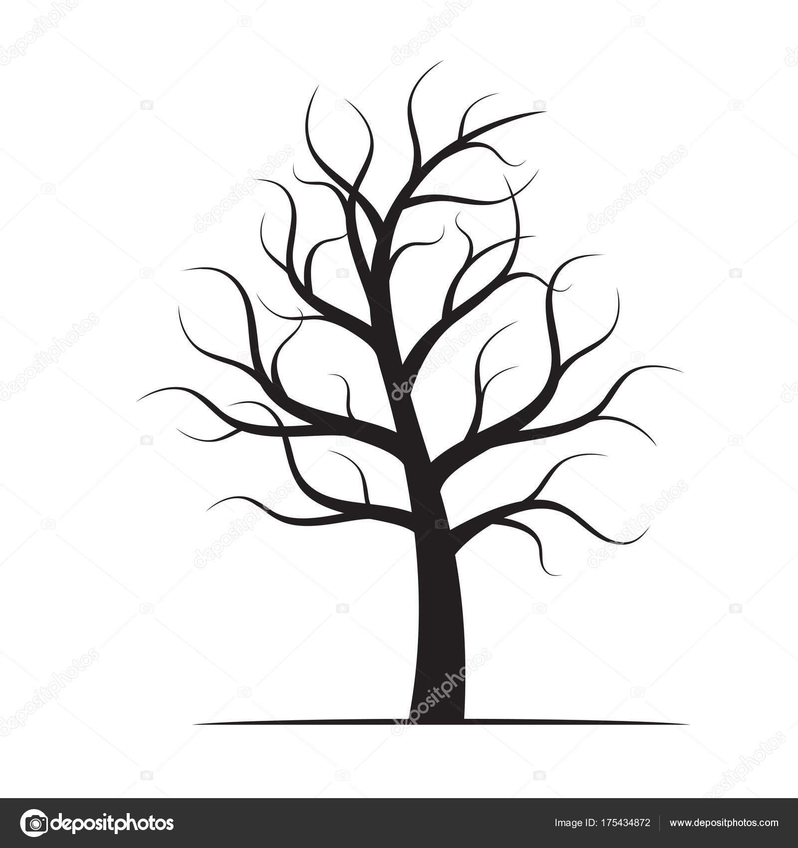 Black winter naked tree vector illustration stock - Dessin arbre nu ...