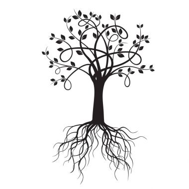 Black Tree and Rots. Vector Illustration.