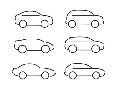 Set of black cars icons - Illustration stock vector