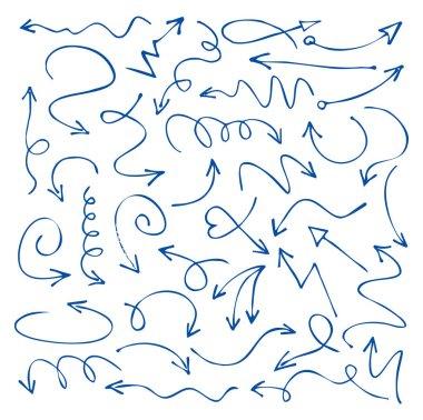 Set of blue drawing Arrows. Vector Illustration.