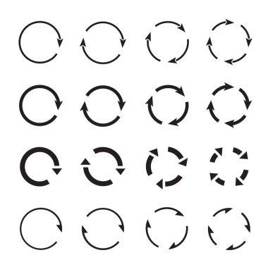 Sets of black circle arrows. Vector Icons