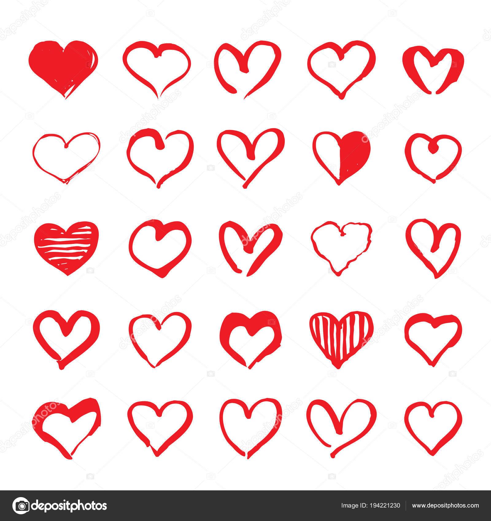 Srdce Cervene Rucne Kreslene Prvky Pro Den Svateho Valentyna