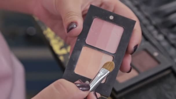 Close up shot. Make-up artist taking eye shadows from makeup eyeshadows palette