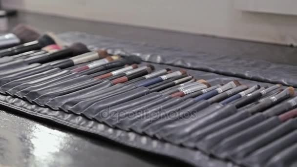 Closeup of professional cosmetics makeup brushes