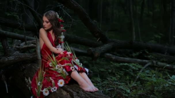 Portrét tajemná dívka s kreativní make-up v etnické červených šatech