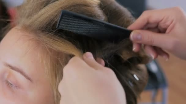 Professional hairdresser doing hairstyle for young pretty woman