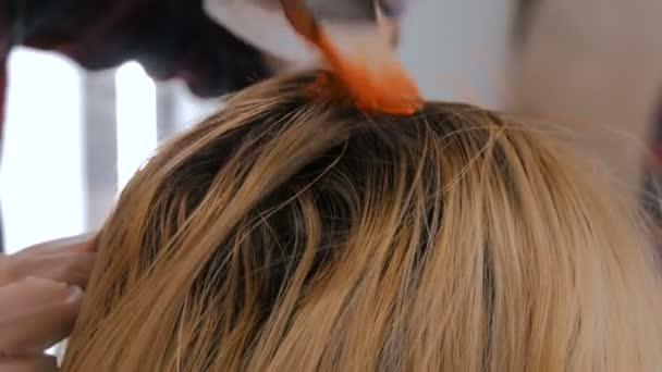 Profesionální kadeřnictví, barvení vlasů Žena klienta ve studiu