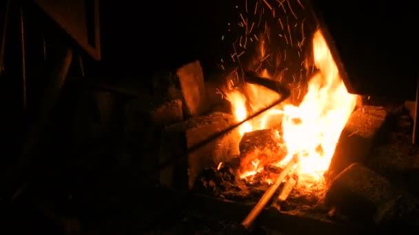 Burning fire in furnace