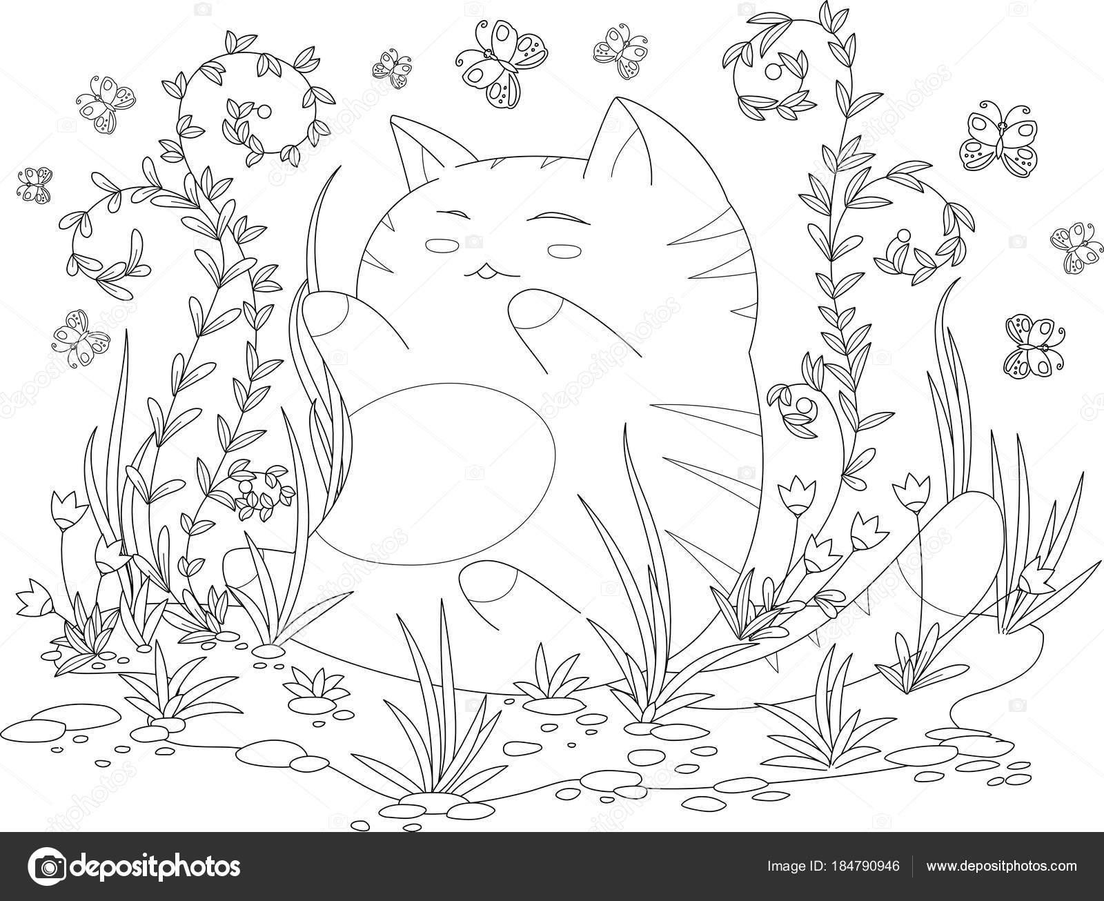 para colorear página del libro para niños y adultos. gatito feliz ...