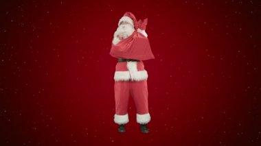 Santa Clause s pytlem dárků tančit na červeném pozadí se sněhem