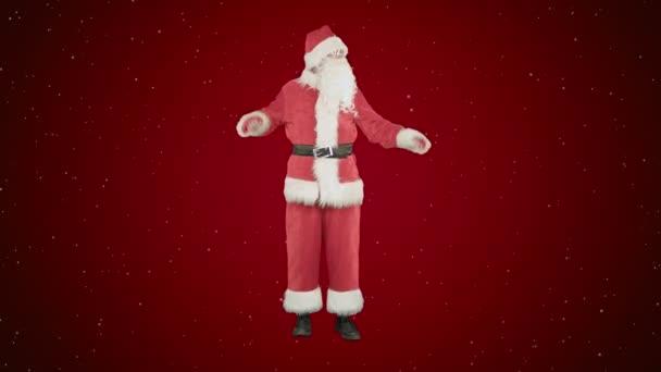 Santa Claus tančí na červeném pozadí se sněhem