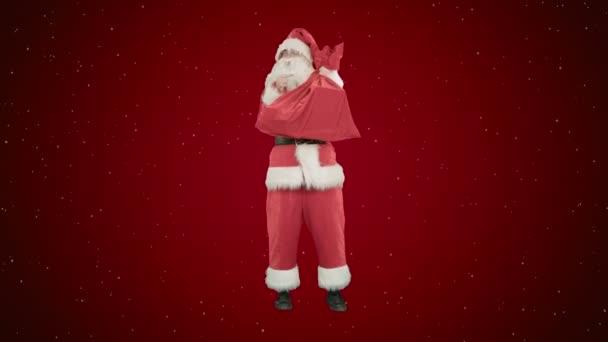 Weihnachtsmann einen Sack Geschenke Tanz auf rotem Grund mit Schnee