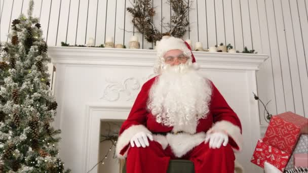Santa greeting children and talking about christmas looking at the santa greeting children and talking about christmas looking at the camera stock footage santa greeting m4hsunfo Images