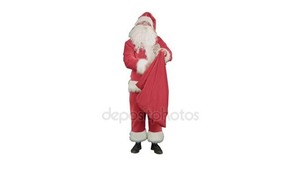 Santa Claus s jeho pytel spoustou dárků na bílém pozadí