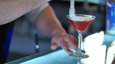 Barman serving cocktail