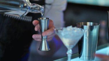 Barman prepares alcoholic cocktail