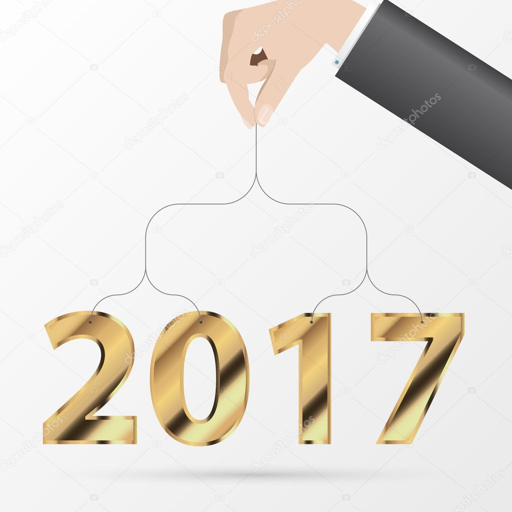 Happy New Year 2017 Greeting Card Business Style Vector Stock