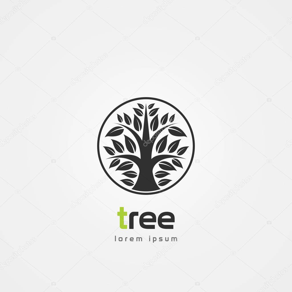 Modern black tree in circle. Symbol. Vector