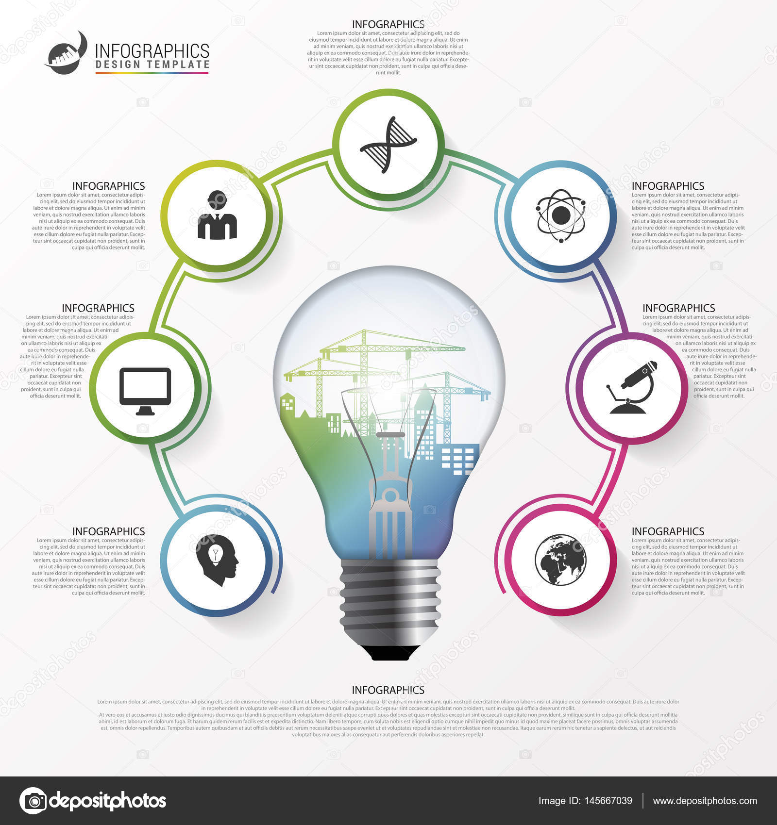 Light bulb infographic. Template for circle diagram ...