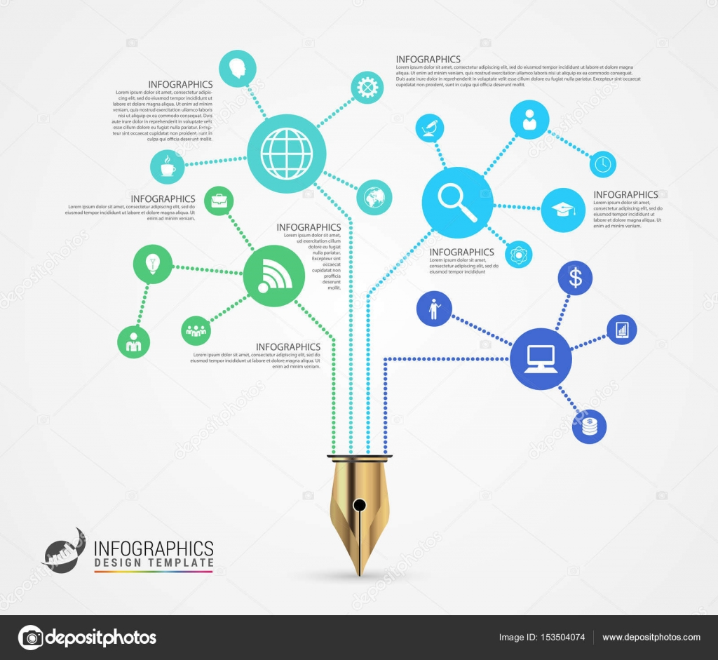 infographic design template business network concept vector