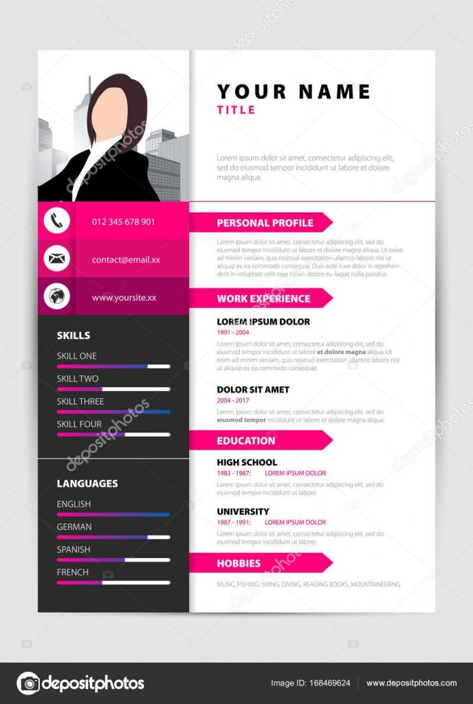 Currículum personal. Plantilla moderna en estilo color de rosa ...