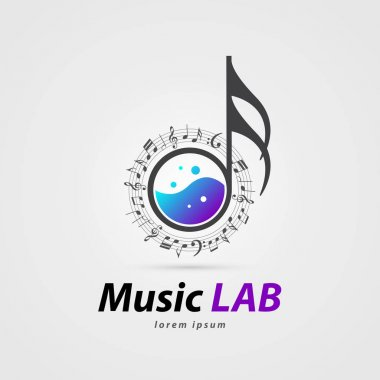 Music laboratory symbol. Creative icon with notes. Vector