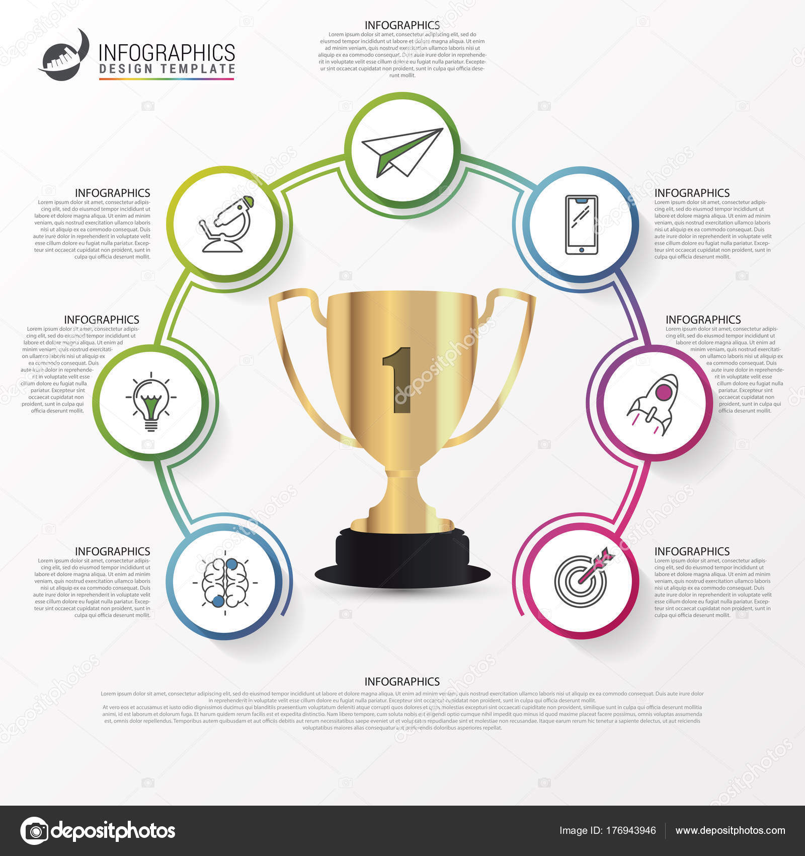 infographic design template success concept with trophy stock