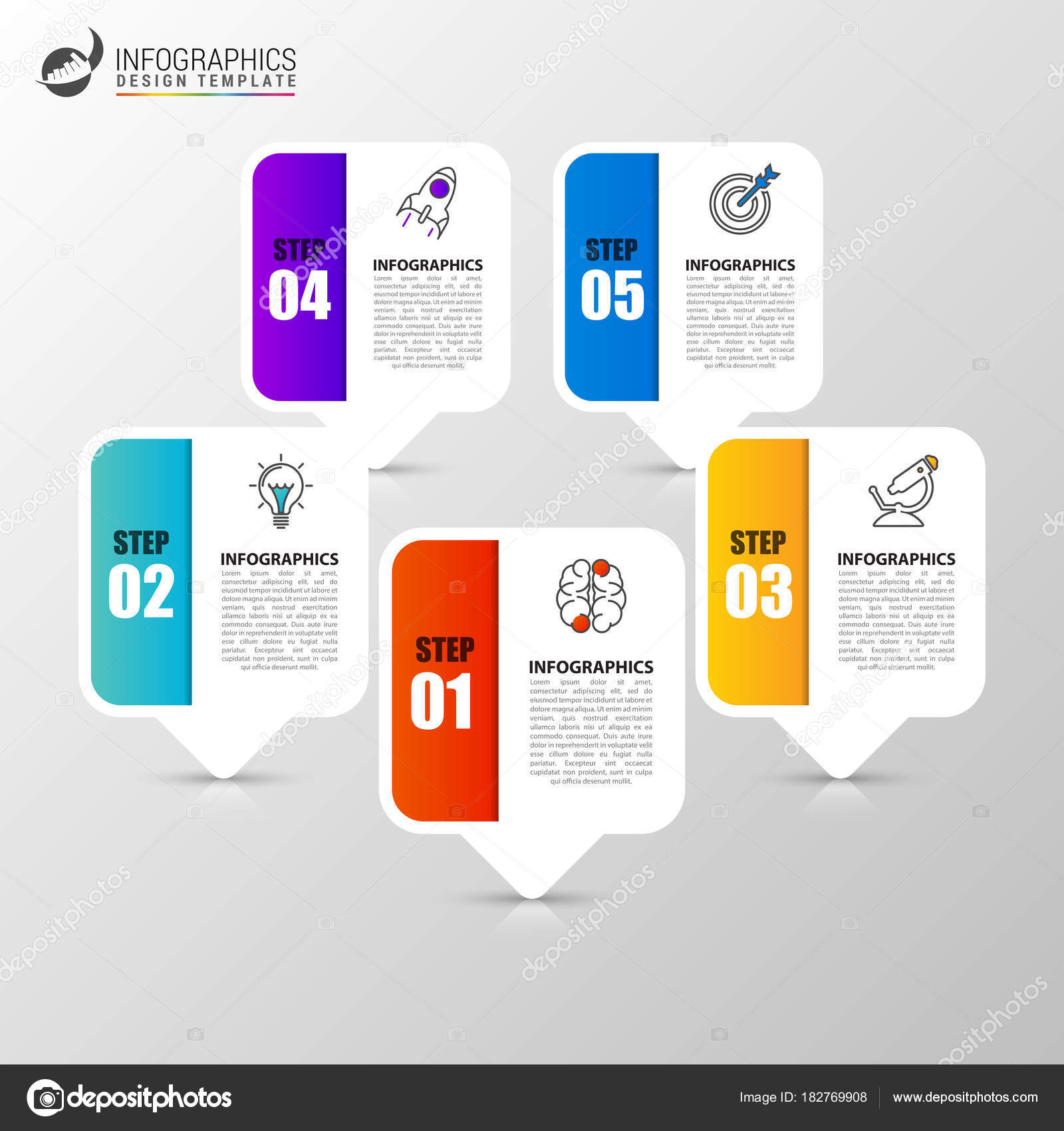 Infographic design template business concept with 5 steps stock infographic design template business concept with 5 steps stock vector cheaphphosting Images