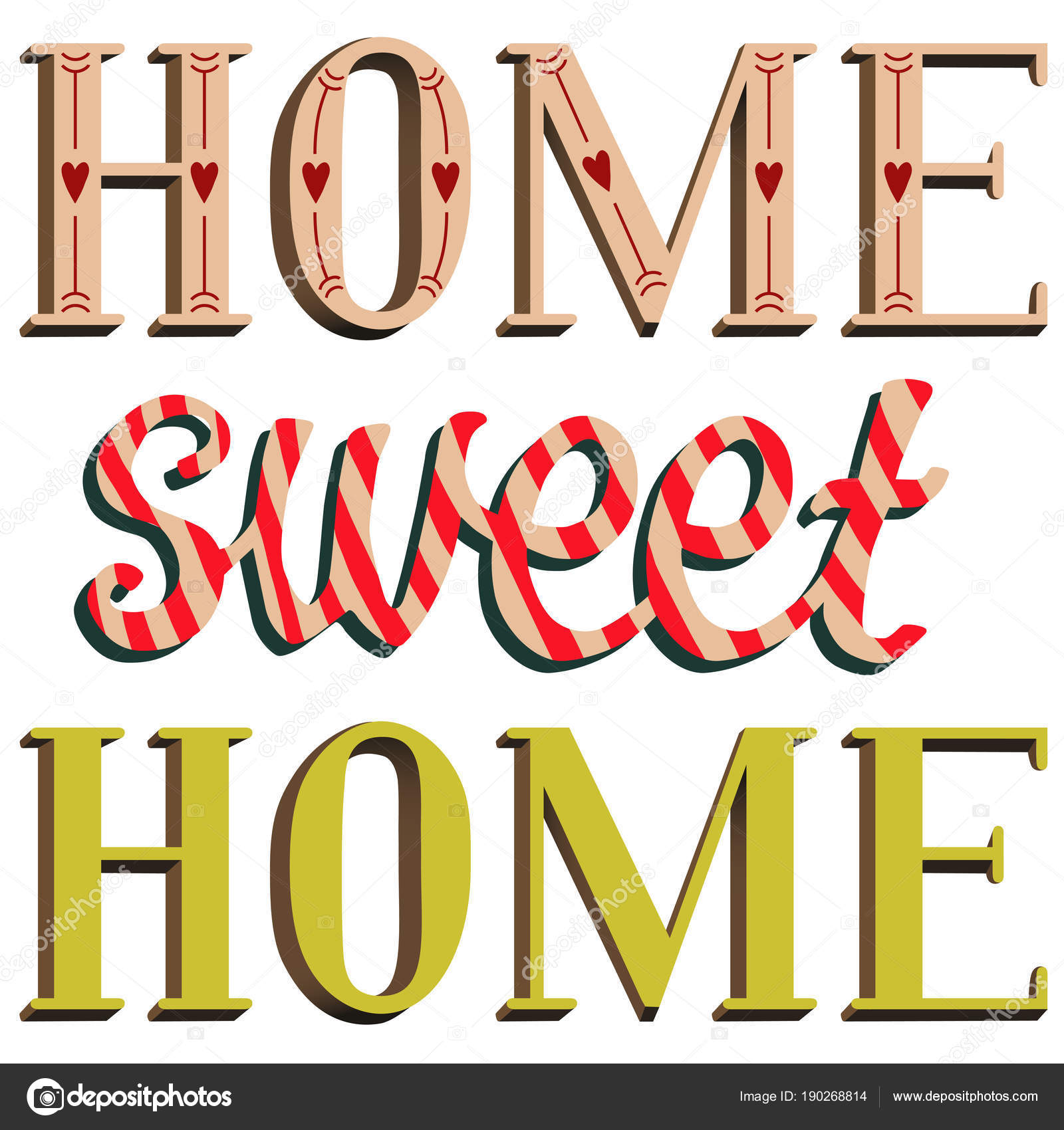 Lettering Home Sweet Home Design — Stock Vector © Rimmarii #190268814