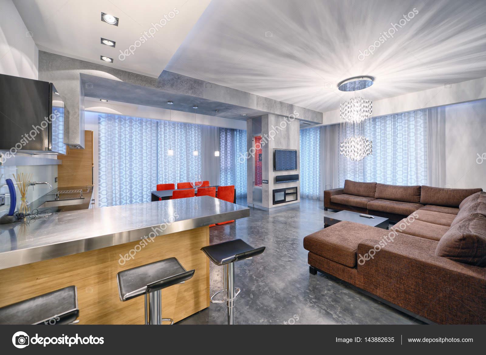 Nieuwe Design Keuken : Interieur design keuken woonkamer in luxe nieuw appartement