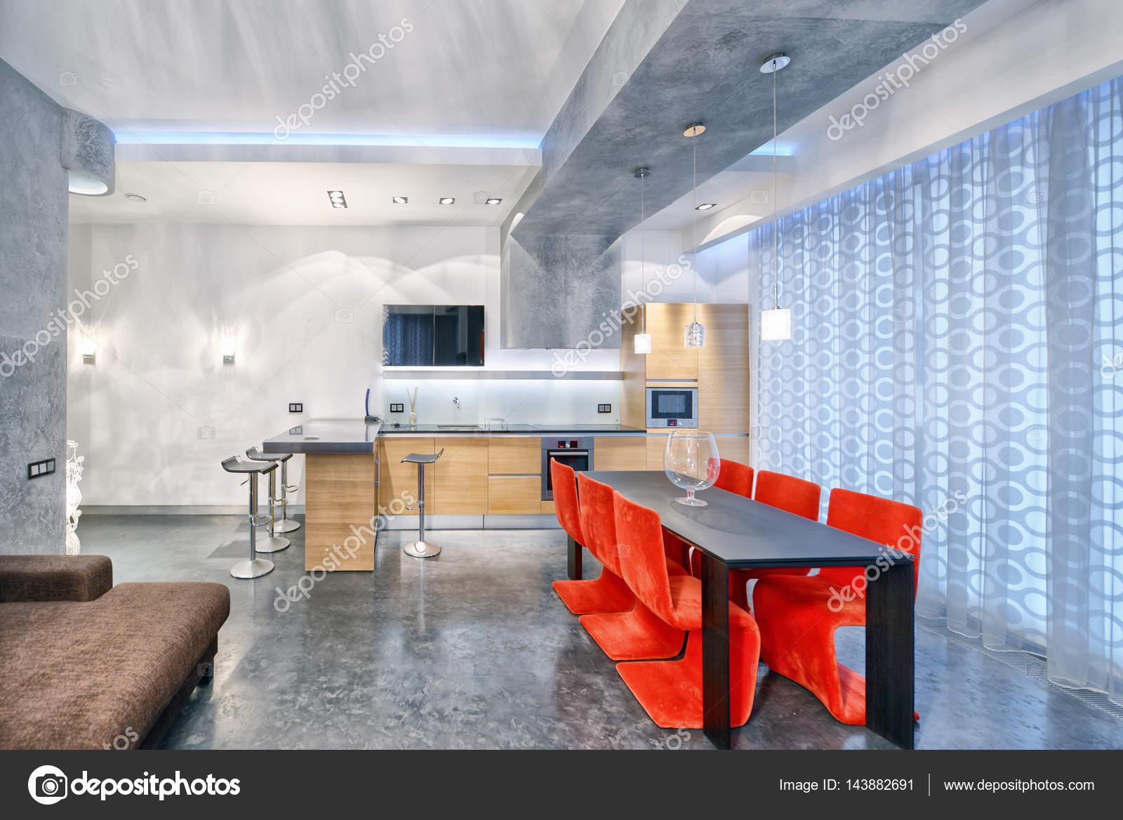 interior design cucina - soggiorno in appartamento nuovo di lusso ...