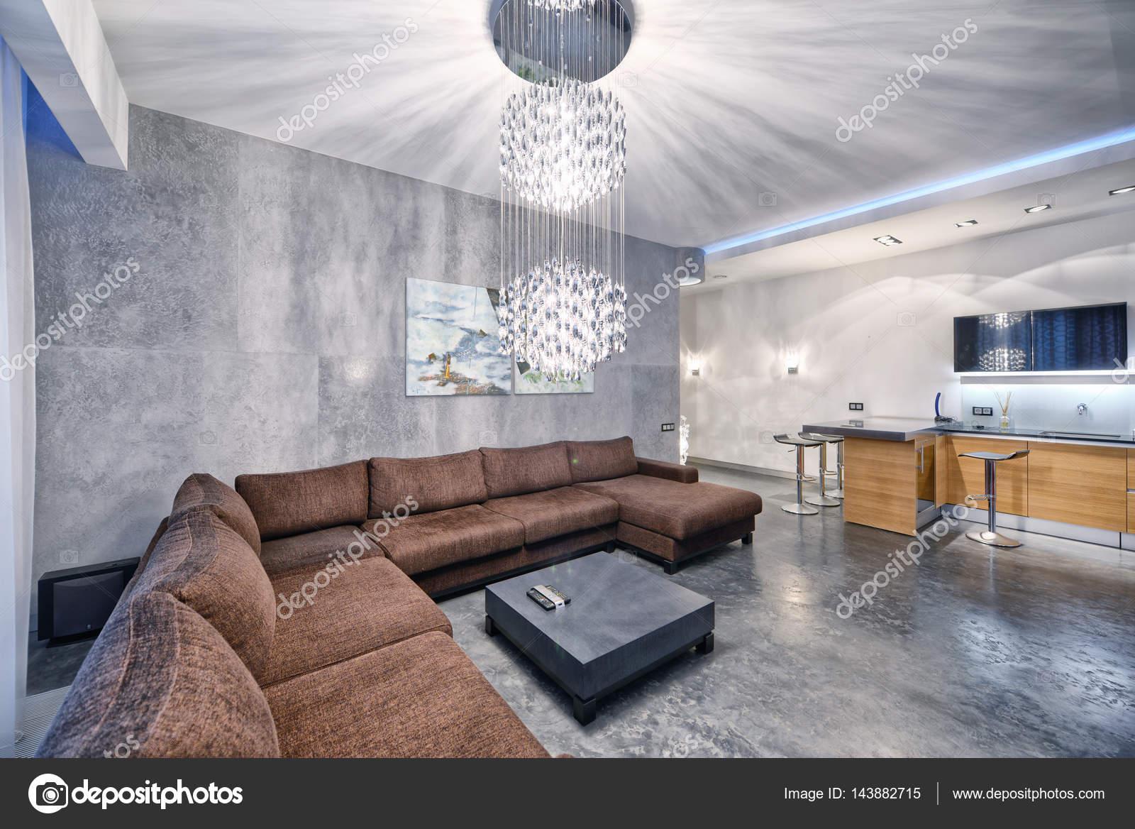 Innenarchitektur-Küche - Wohnzimmer in neue Luxuswohnung — Stockfoto ...