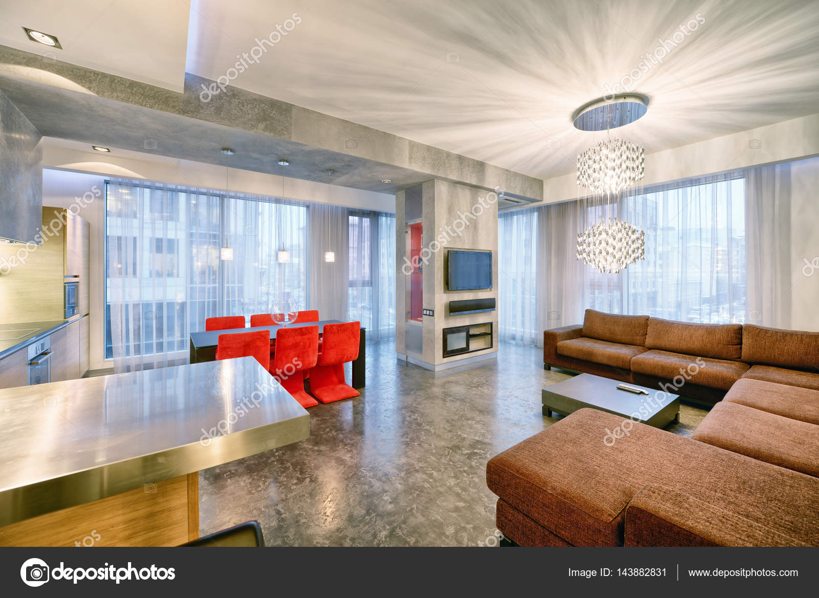 Interieur design keuken woonkamer in luxe nieuw appartement