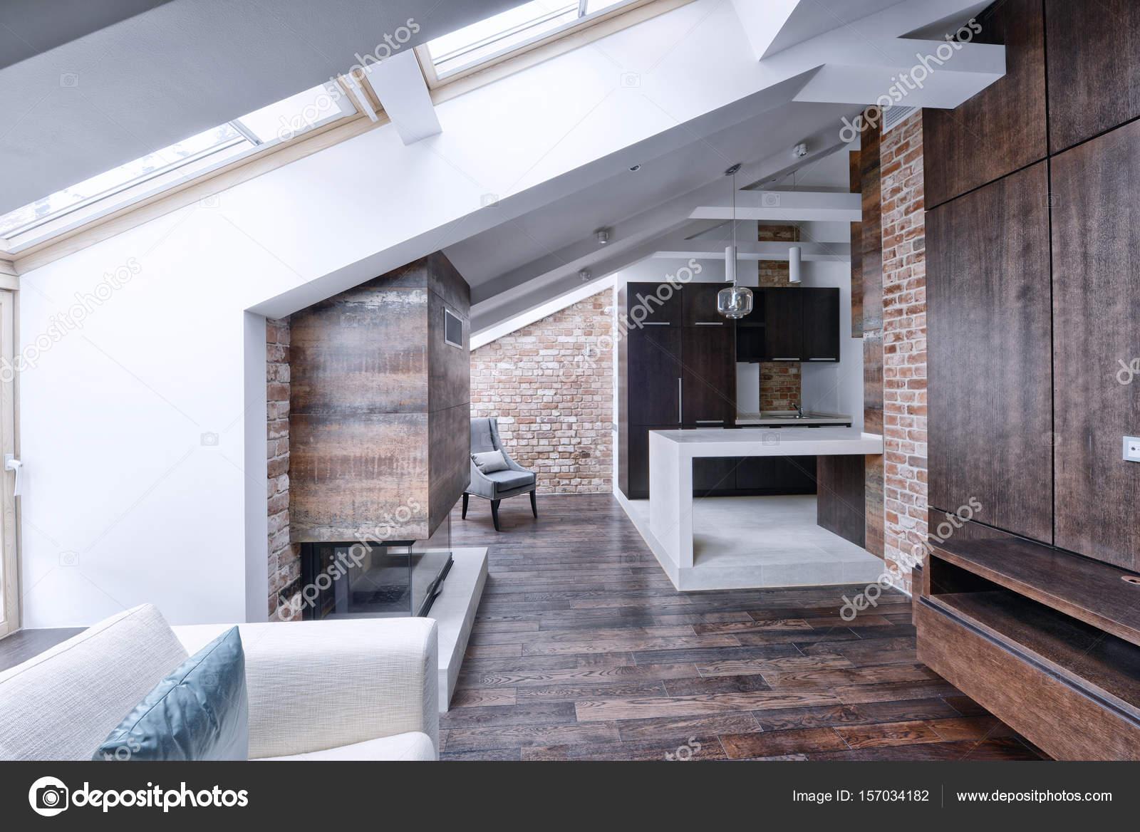 modernes appartement interieur, intérieur moderne appartement de style loft — photographie, Design ideen