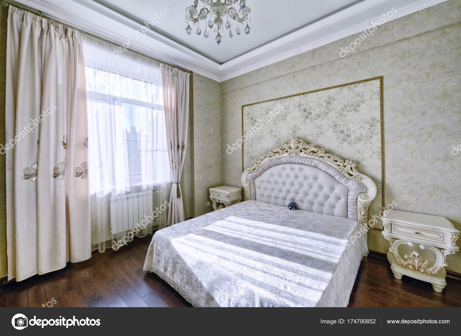 Interno Elegante Camera Letto Con Letto Matrimoniale — Foto Stock ...