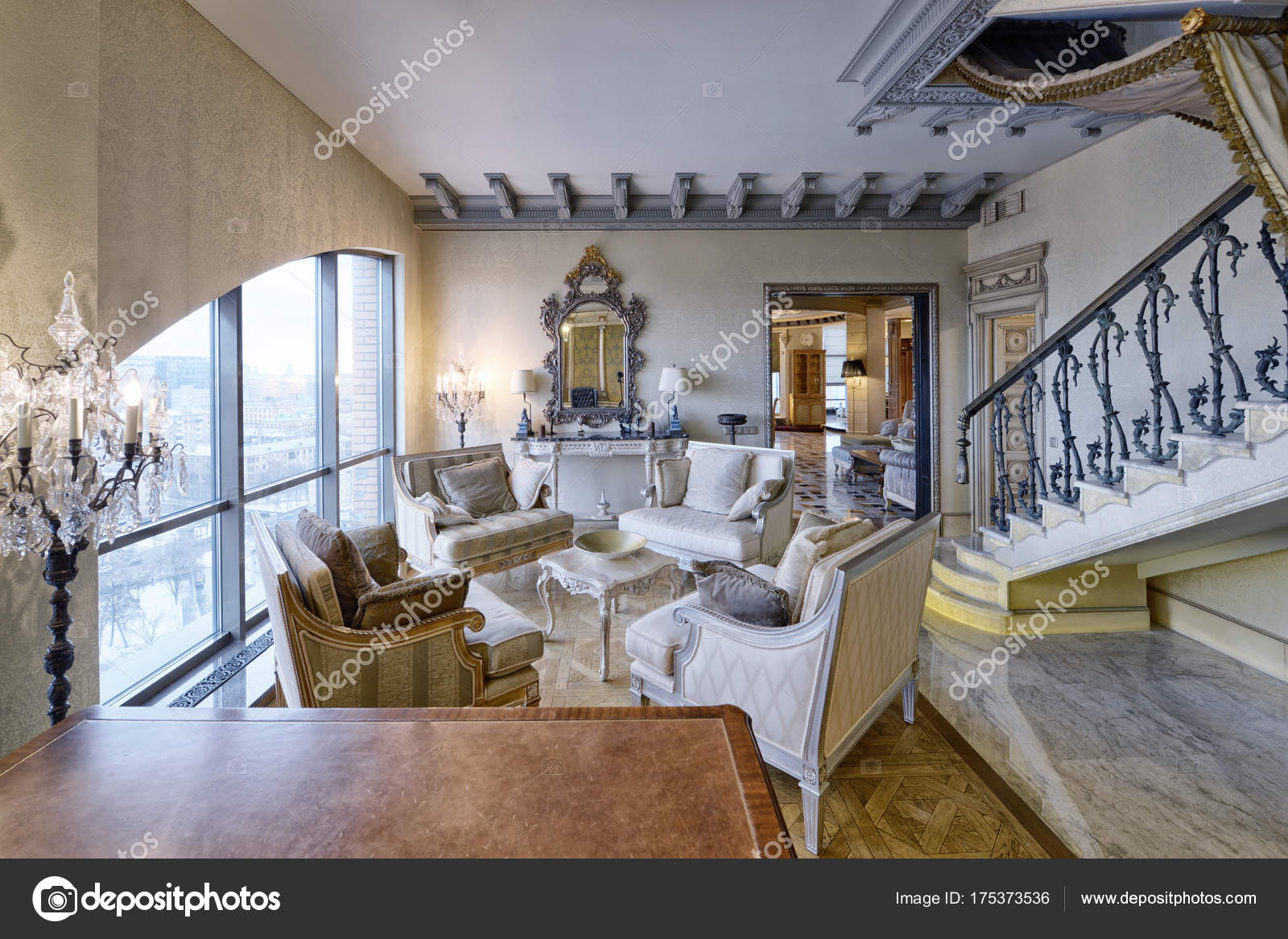 Russland Moscow Region Wohnzimmer Interior Design Neuen Luxus Haus U2014  Stockfoto