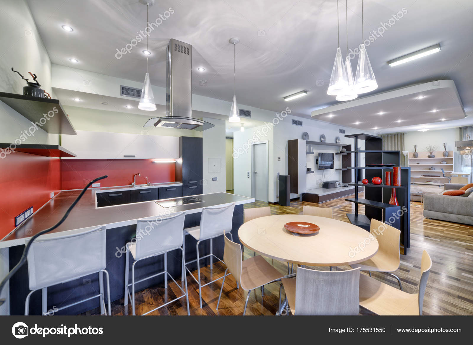Interieur Der Küche Wohnzimmer Einem Modernen Haus — Stockfoto ...