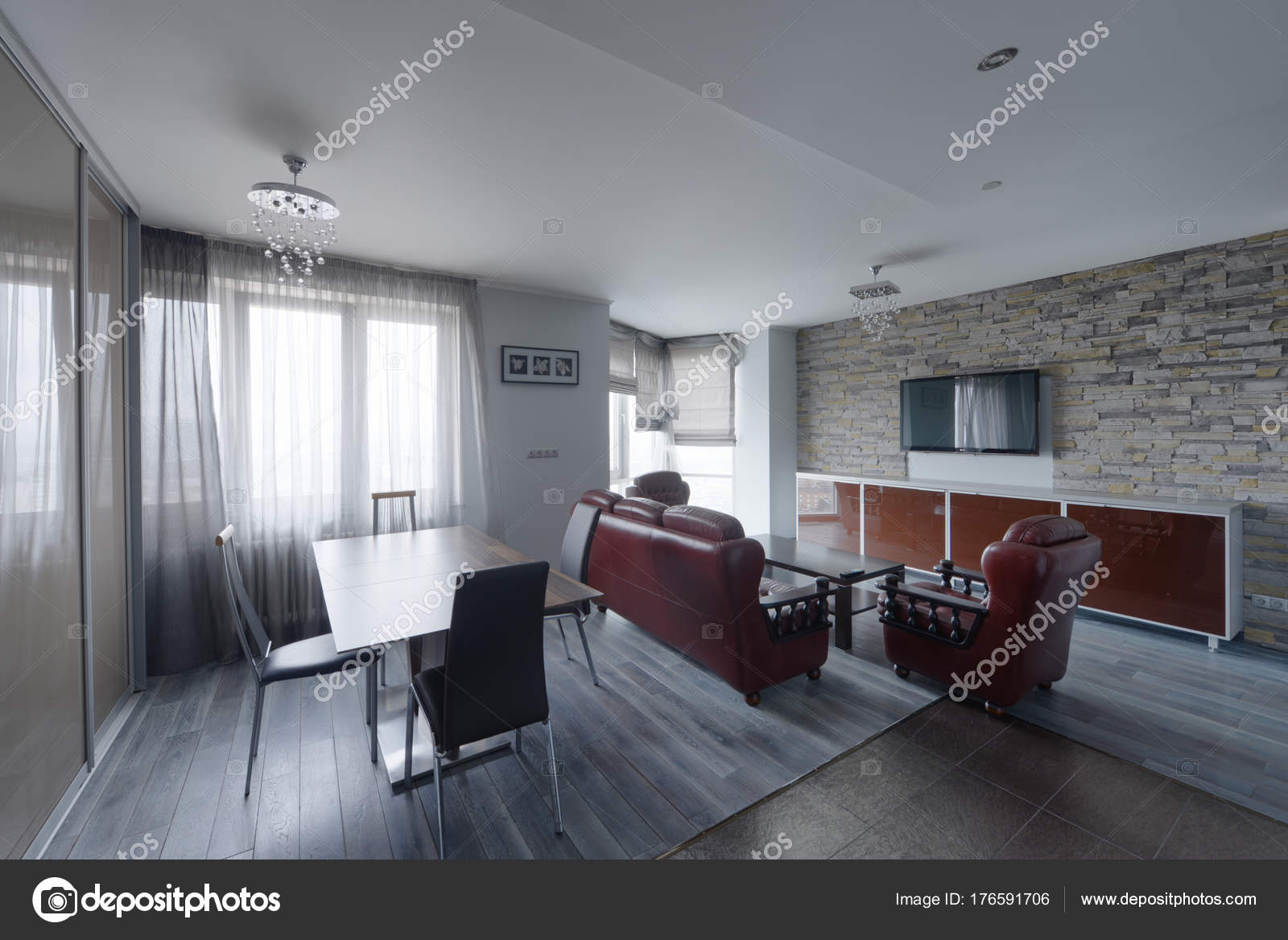 Wohnzimmer Interieur Modernes Haus — Stockfoto © ovchinnikovfoto ...