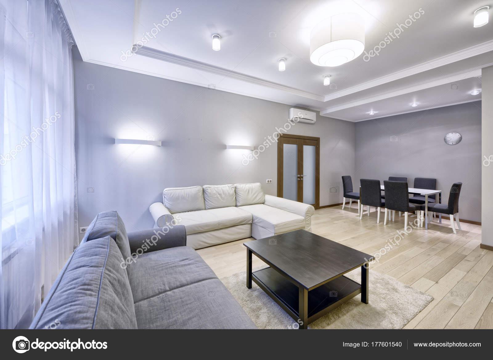 Moderne Design Interieur Van Woonkamer Een Luxe Appartement Grijs ...