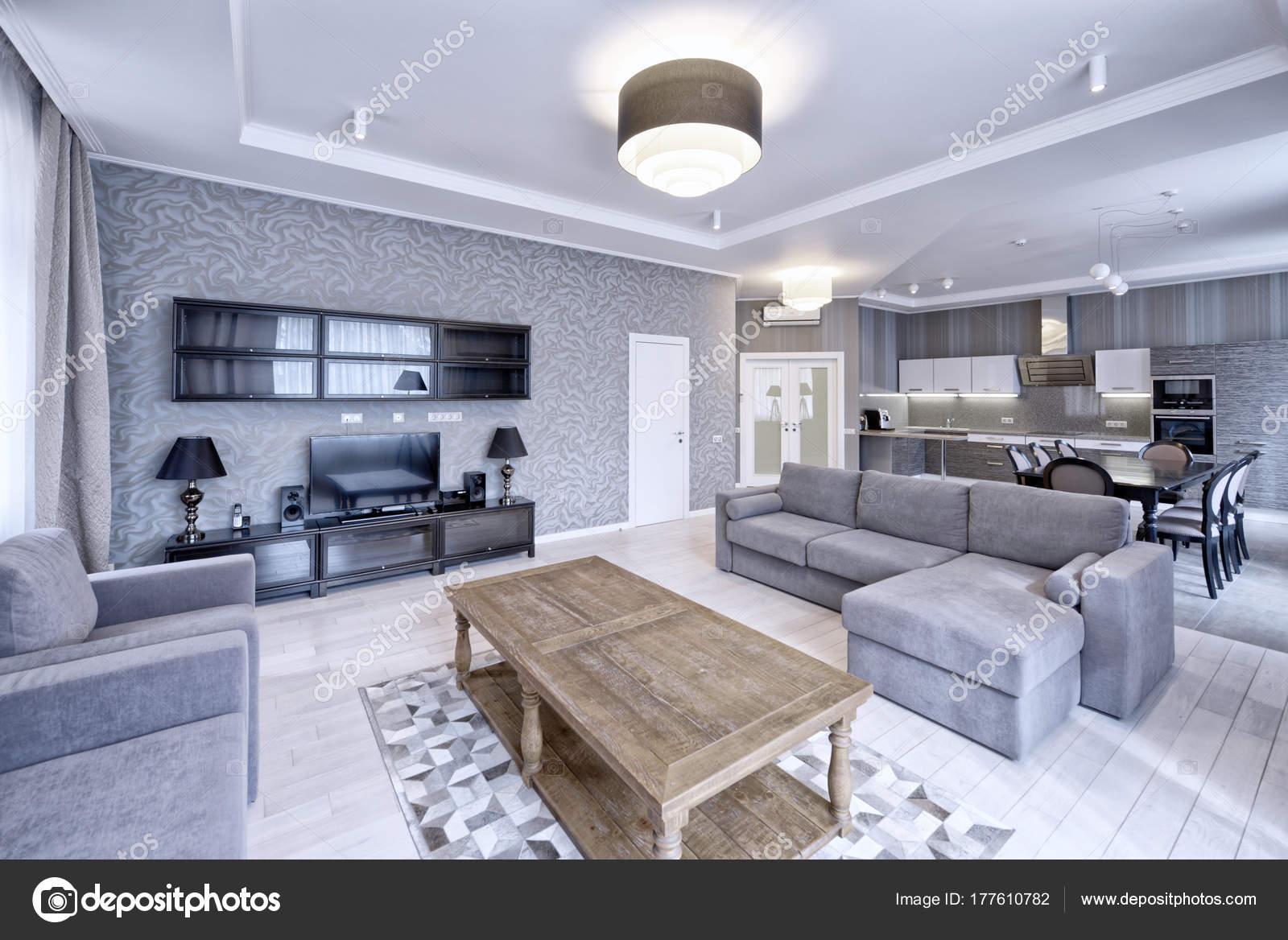 Interior Design Moderno Sala Estar Apartamento Luxo Tons Cinza Brancos U2014  Fotografia De Stock