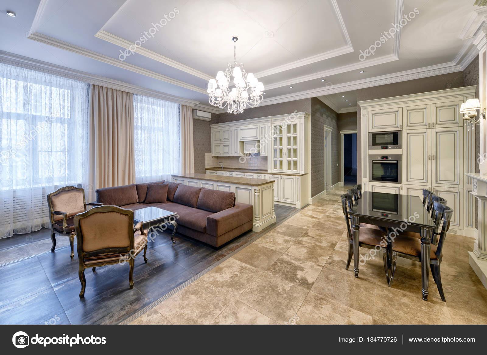 Quarto Interior Design Moderno Com Cozinha Branca Apartamento Luxo Tons U2014  Fotografia De Stock