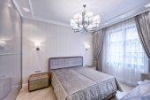 Modern design szoba belső szürke tónusok egy luxus apartman.