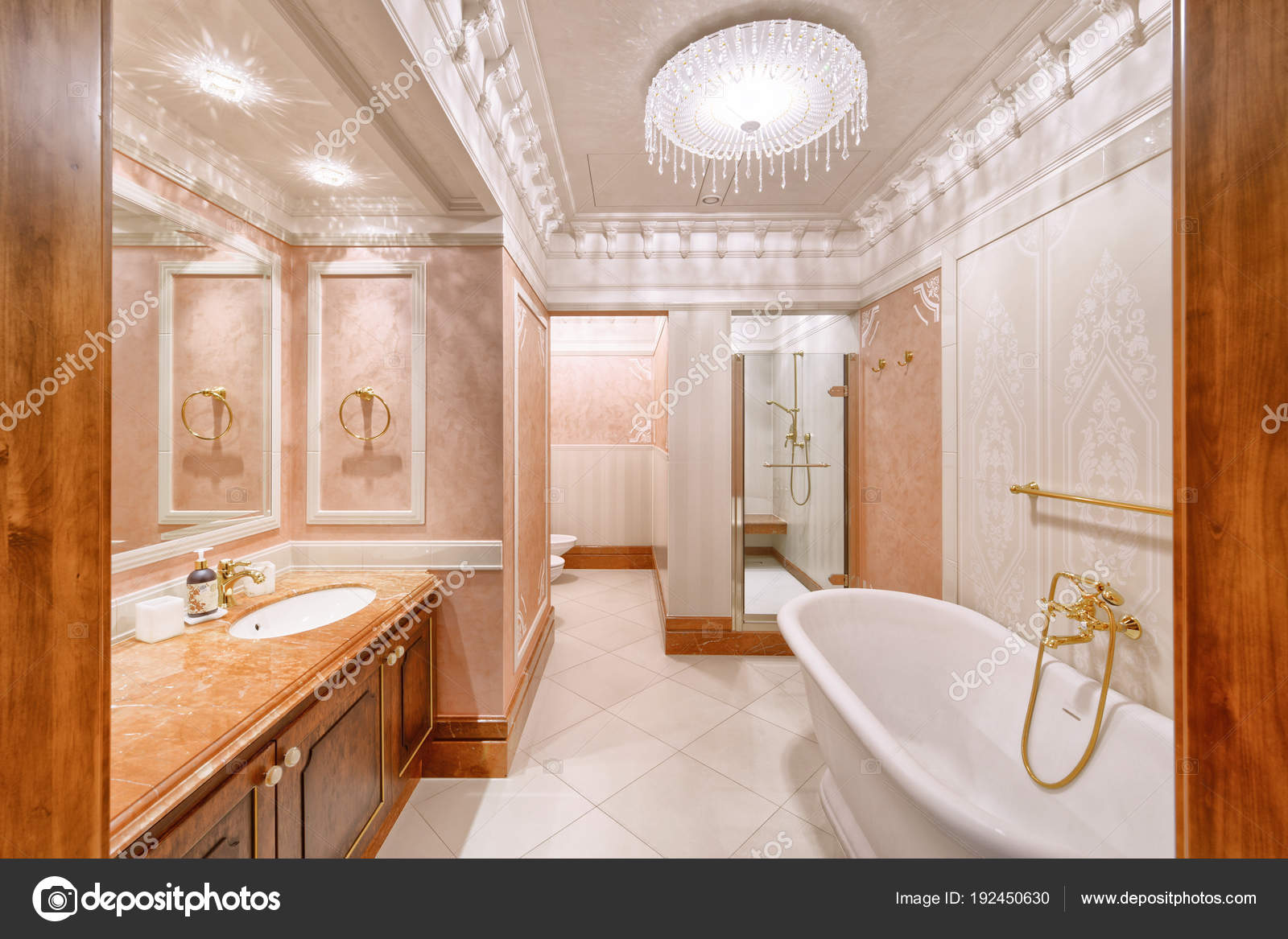 Diseño Interiores Casa Lujo Cuarto Baño Elegante — Fotos ...