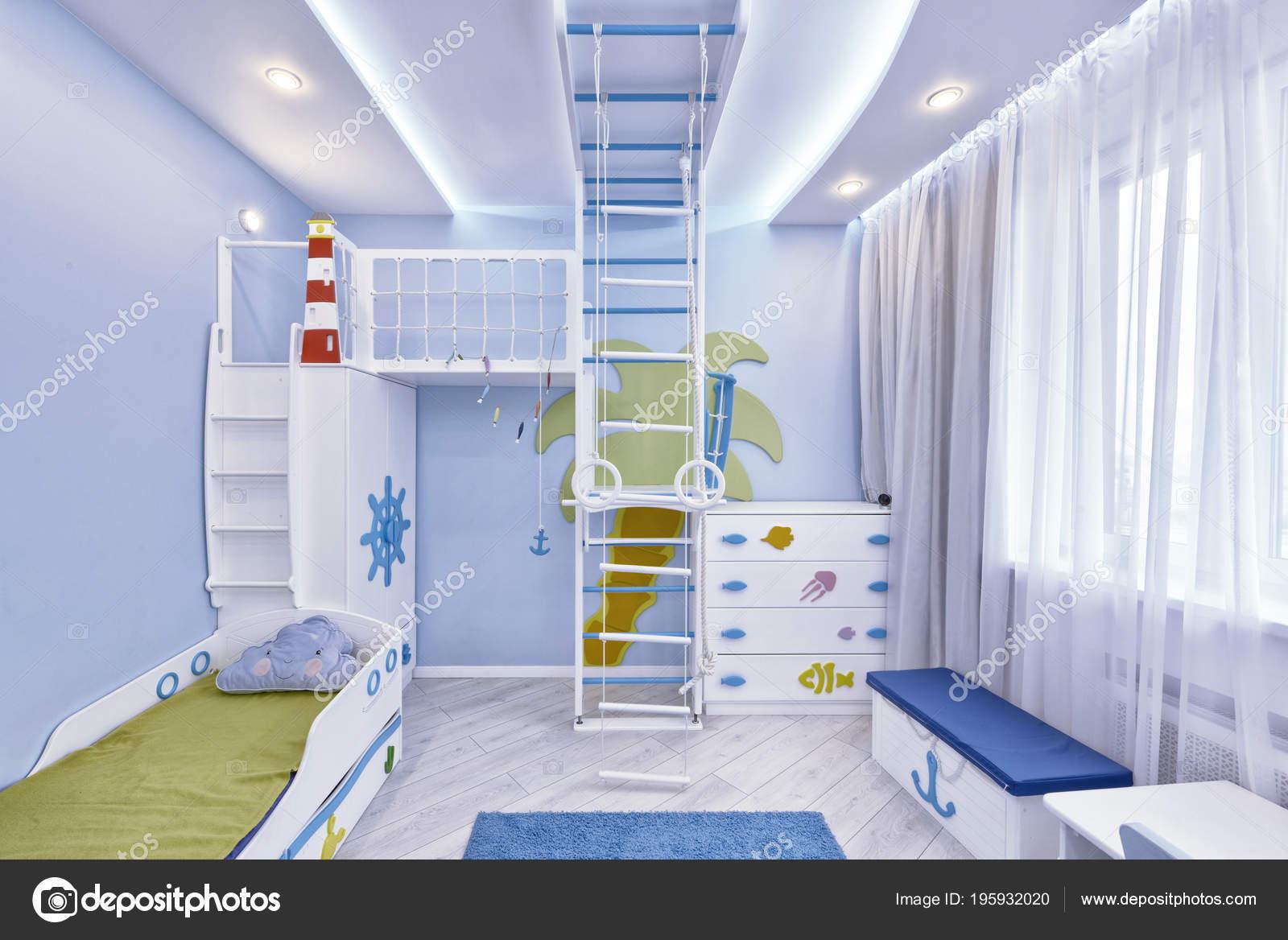Interior Children Bedroom Boy Marine Style Stock Photo